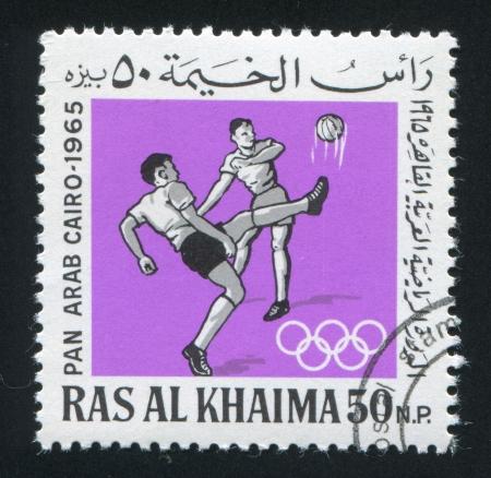 khaima: RAS AL KHAIMA - CIRCA 1965: stamp printed by Ras al Khaima, shows Football, circa 1965