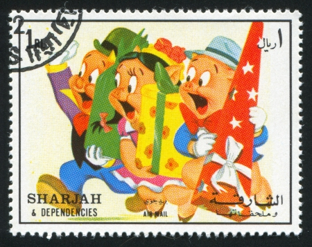 SHARJAH AND DEPENDENCIES - CIRCA 1972: stamp printed by Sharjah and Dependencies, shows Pigs, circa 1972 Stock Photo - 17145398