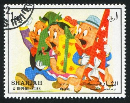 sharjah: SHARJAH AND DEPENDENCIES - CIRCA 1972: stamp printed by Sharjah and Dependencies, shows Pigs, circa 1972
