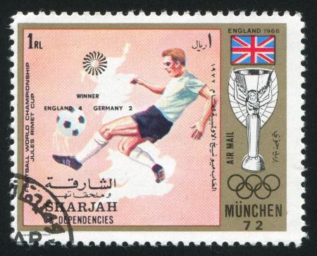 dependencies: SHARJAH AND DEPENDENCIES - CIRCA 1972: stamp printed by Sharjah and Dependencies, shows Football, circa 1972