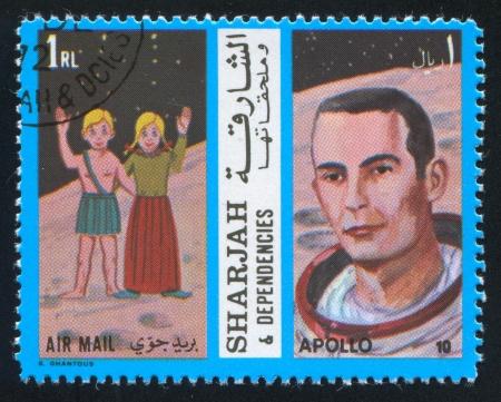 SHARJAH AND DEPENDENCIES - CIRCA 1972: stamp printed by Sharjah and Dependencies, shows Gemini and Apollo 10, circa 1972 Stock Photo - 17145348
