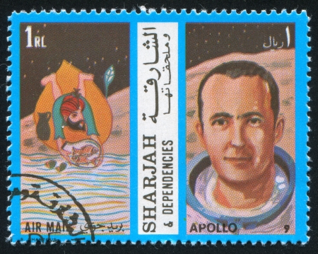 SHARJAH AND DEPENDENCIES - CIRCA 1972: stamp printed by Sharjah and Dependencies, shows Fish and Apollo 9, circa 1972 Stock Photo - 17145566
