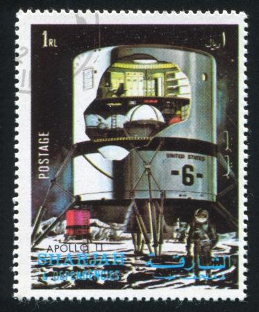 SHARJAH AND DEPENDENCIES - CIRCA 1972: stamp printed by Sharjah and Dependencies, shows Apollo 11, circa 1972 Stock Photo - 17145401