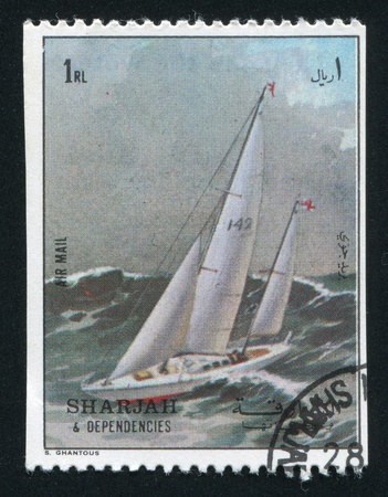 SHARJAH AND DEPENDENCIES - CIRCA 1972: stamp printed by Sharjah and Dependencies, shows a Ship, circa 1972