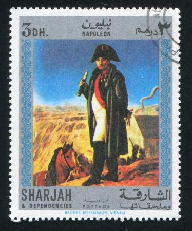 dependencies: SHARJAH AND DEPENDENCIES - CIRCA 1972: stamp printed by Sharjah and Dependencies, shows Napoleon, circa 1972