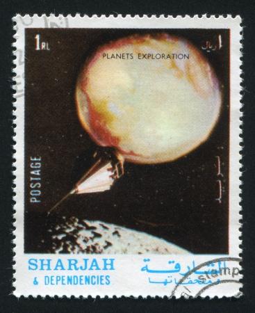 SHARJAH AND DEPENDENCIES - CIRCA 1972: stamp printed by Sharjah and Dependencies, shows Planets Exploration, circa 1972 Stock Photo - 17145334