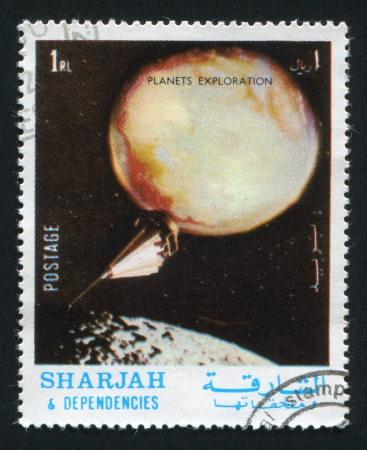 dependencies: SHARJAH AND DEPENDENCIES - CIRCA 1972: stamp printed by Sharjah and Dependencies, shows Planets Exploration, circa 1972