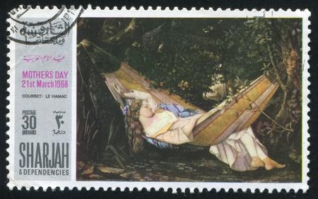 SHARJAH AND DEPENDENCIES - CIRCA 1968: stamp printed by Sharjah and Dependencies, shows Le Hamac by Courbet, circa 1968
