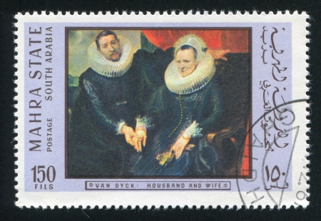 SOUTH ARABIA - CIRCA 1972: stamp printed by South Arabia, shows Husband and Wife by Van Dyck, circa 1972 Stock Photo - 17145349