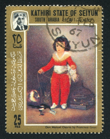 SOUTH ARABIA - CIRCA 1972: stamp printed by South Arabia, shows Don Manuel Osorio by Francisco Goya, circa 1972 Stock Photo - 17146195