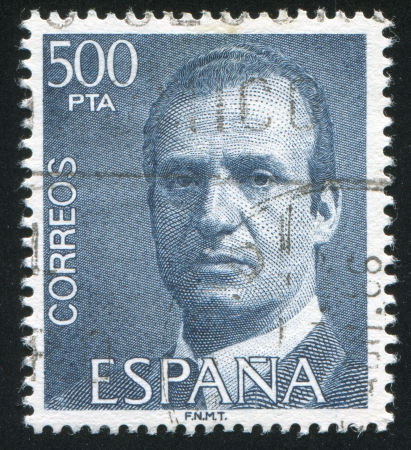 carlos: SPAIN - CIRCA 1993: stamp printed by Spain, shows King Juan Carlos I, circa 1993 Editorial