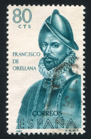 SPAIN - CIRCA 1965: stamp printed by Spain, shows Francisco de Orellana, circa 1965 Stock Photo - 17145792