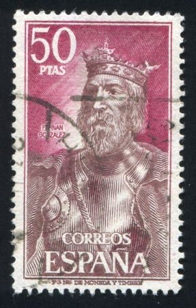 SPAIN - CIRCA 1972: stamp printed by Spain, shows Portrait of King Fernan Gonzalez, circa 1972 Stock Photo - 17145394