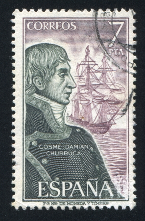 SPAIN - CIRCA 1976: stamp printed by Spain, shows Cosme Damian Churruca, circa 1976 Stock Photo - 17145841