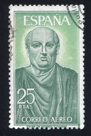 SPAIN - CIRCA 1966: stamp printed by Spain, shows Seneca, circa 1966 Stock Photo - 17145690