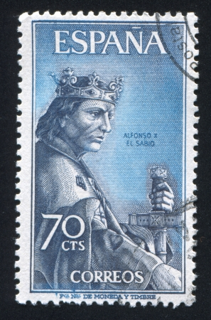 SPAIN - CIRCA 1965: stamp printed by Spain, shows Alfonso X, the Wise, circa 1965 Stock Photo - 17145858
