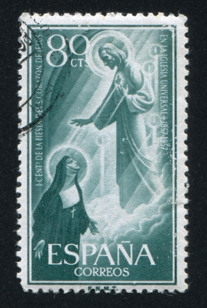 SPAIN - CIRCA 1956: stamp printed by Spain, shows St. Marguerite Alacoque's Vision of Jesus, Europa, circa 1956 Stock Photo - 17145530