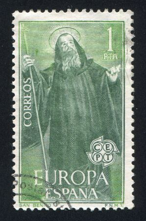 SPAIN - CIRCA 1965: stamp printed by Spain, shows St. Benedict, circa 1965 Stock Photo - 17145871