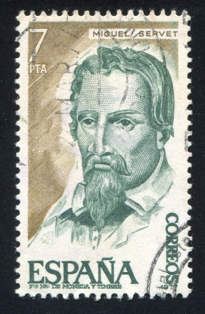 SPAIN - CIRCA 1977: stamp printed by Spain, shows Miguel Servet, circa 1977 Stock Photo - 17146152