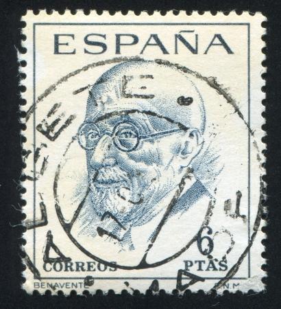 SPAIN - CIRCA 1966 stamp printed by Spain, shows Jacinto Benavente y Martinez, circa 1966 Stock Photo - 17145304