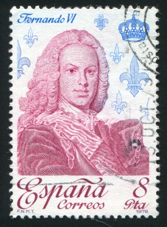 SPAIN - CIRCA 1978: stamp printed by Spain, shows Ferdinand VI, circa 1978 Stock Photo - 17145699