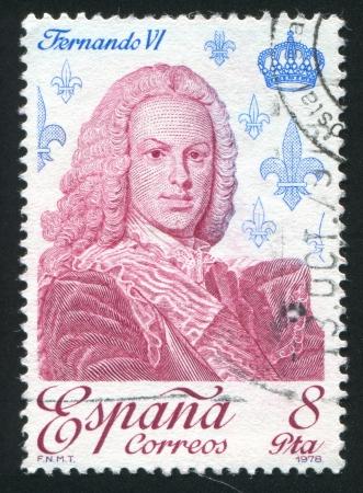 SPAIN - CIRCA 1978: stamp printed by Spain, shows Ferdinand VI, circa 1978 Stock Photo - 17145699
