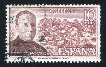 SPAIN - CIRCA 1974: stamp printed by Spain, shows Father Pedro Poveda, circa 1974 Stock Photo - 17145861