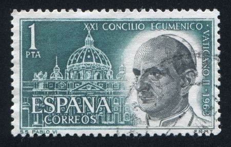 SPAIN - CIRCA 1963: stamp printed by Spain, shows Pope Paul VI and St. Peter's, Rome, circa 1963 Stock Photo - 17145786