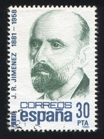 SPAIN - CIRCA 1981: stamp printed by Spain, shows Juan Ramon Jimenez, circa 1981 Stock Photo - 17145536