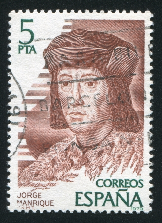 SPAIN - CIRCA 1979: stamp printed by Spain, shows Jorge Manrique, circa 1979 Stock Photo - 17146189