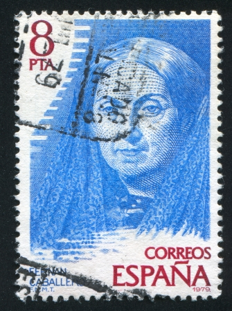 SPAIN - CIRCA 1979: stamp printed by Spain, shows Fernan Caballero (pen name of Cecilia Bohl de Faber), circa 1979 Stock Photo - 17145489