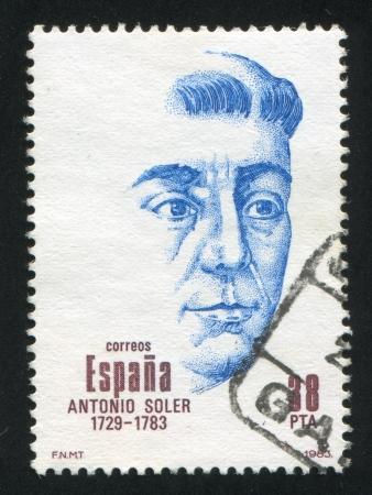 repertoire: SPANJE - CIRCA 1983: stempel gedrukt door Spanje, toont Antonio Soler Ramos, componist, circa 1983