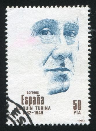 repertoire: SPANJE - CIRCA 1983: stempel gedrukt door Spanje, toont Joaquin Turina Perez, componist, circa 1983