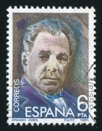 SPAIN - CIRCA 1982: stamp printed by Spain, shows Amadeo Vives Roig, circa 1982 Stock Photo - 17145285