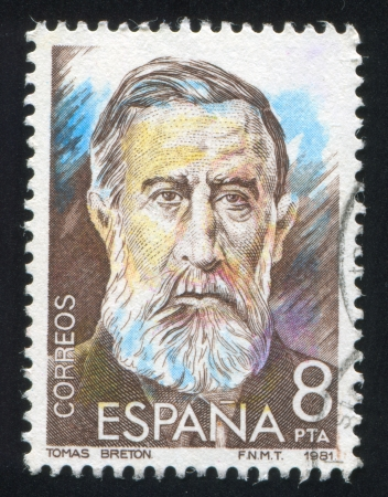 SPAIN - CIRCA 1982: stamp printed by Spain, shows Tomas Breton Hernandez, circa 1982 Stock Photo - 17145284