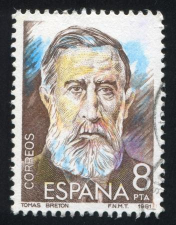 repertoire: SPANJE - CIRCA 1982: stempel gedrukt door Spanje, toont Tomas Breton Hernandez, circa 1982