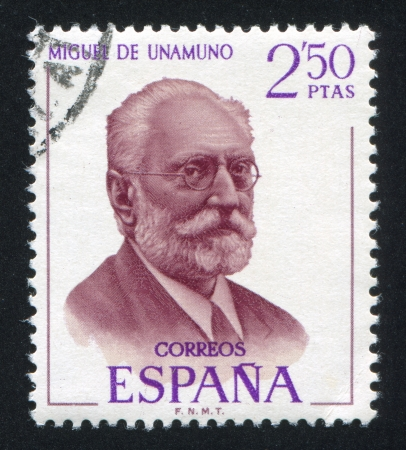 SPAIN - CIRCA 1970: stamp printed by Spain, shows Miguel de Unamuno, circa 1970 報道画像