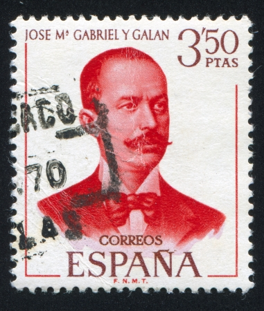 SPAIN - CIRCA 1970: stamp printed by Spain, shows Jose M. Gabriel y Galan, circa 1970 Stock Photo - 17145321