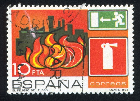 SPAIN - CIRCA 1984: stamp printed by Spain, shows Fire, circa 1984 Stock Photo - 17145352