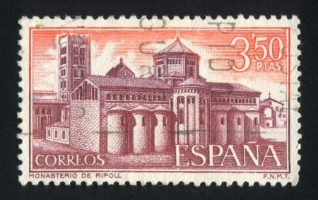 SPAIN - CIRCA 1970: stamp printed by Spain, shows Ripoll Monastery, View of monastery, circa 1970 Stock Photo - 17145408
