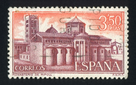 SPAIN - CIRCA 1970: stamp printed by Spain, shows Ripoll Monastery, View of monastery, circa 1970 Stock Photo - 17145408