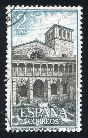 SPAIN - CIRCA 1964: stamp printed by Spain, shows Santa Maria de Huerta Monastery, circa 1964 Stock Photo - 17145668