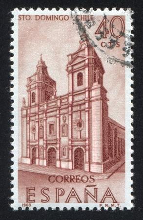 SPAIN - CIRCA 1969: stamp printed by Spain, shows Santo Domingo Church, Santiago, Chile, circa 1969 Stock Photo - 17146201