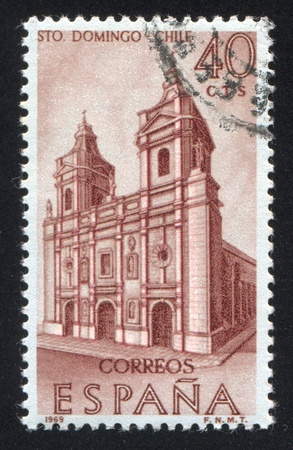 SPAIN - CIRCA 1969: stamp printed by Spain, shows Santo Domingo Church, Santiago, Chile, circa 1969 Stock Photo - 17146201
