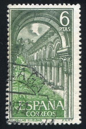 SPAIN - CIRCA 1969: stamp printed by Spain, shows Las Huelgas Monastery, Inside view, circa 1969