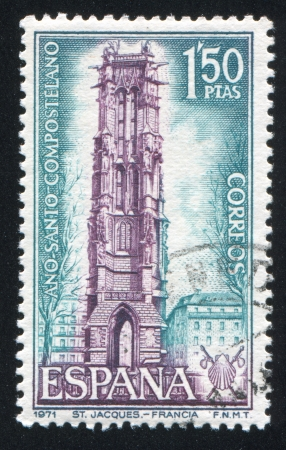 SPAIN - CIRCA 1971: stamp printed by Spain, shows Tower of St. Jacques, Paris, circa 1971 Stock Photo - 17145635