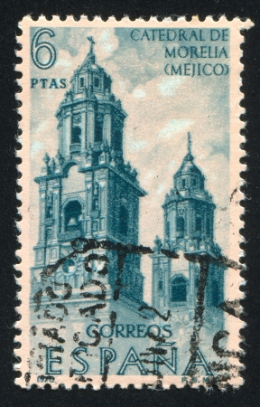 SPAIN - CIRCA 1970: stamp printed by Spain, shows Cathedral Towers, Morelia, Mexico, circa 1970 Stock Photo - 17146141
