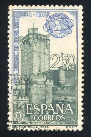 SPAIN - CIRCA 1964: stamp printed by Spain, shows La Mota castle, Medina de Campo, circa 1964 Stock Photo - 17145743