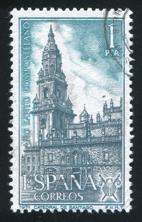 SPAIN - CIRCA 1971: stamp printed by Spain, shows Santiago Cathedral, circa 1971 Stock Photo - 17145602