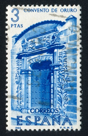 SPAIN - CIRCA 1966: stamp printed by Spain, shows Portal of Oruro Convent, Bolivia, circa 1966